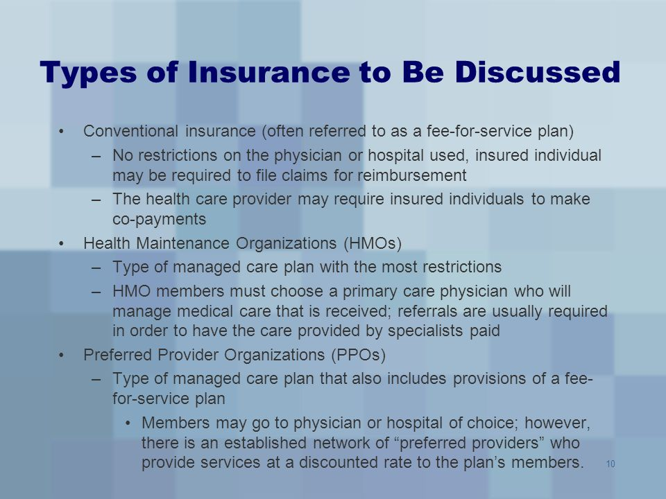 Types of Insurance to Be Discussed