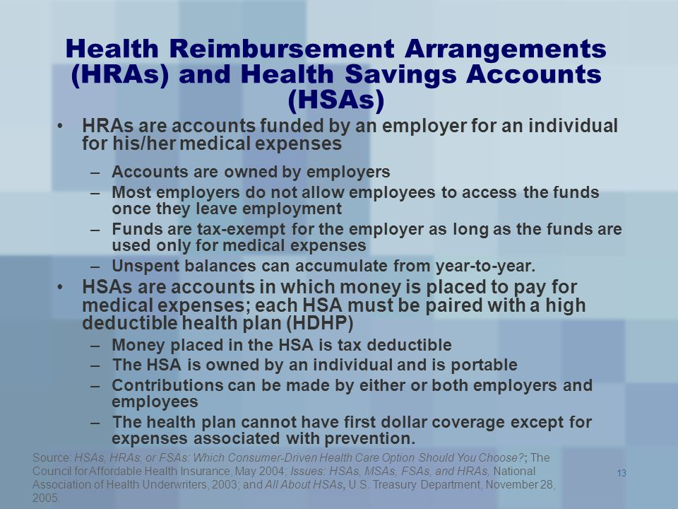 Health Reimbursement Arrangements (HRAs) and Health Savings Accounts (HSAs)