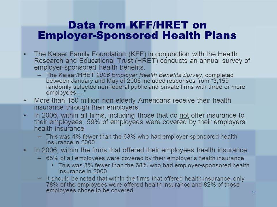 Data from KFF/HRET on Employer-Sponsored Health Plans