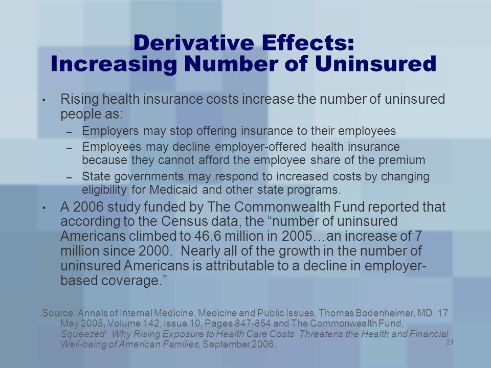 Derivative Effects: Increasing Number of Uninsured