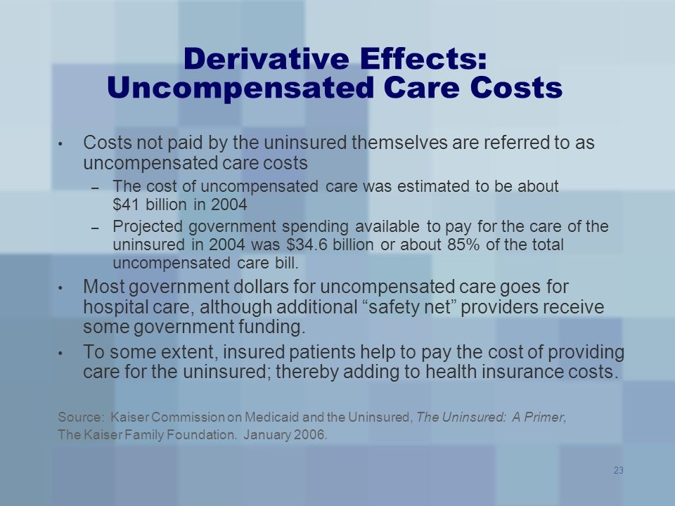 Derivative Effects: Uncompensated Care Costs