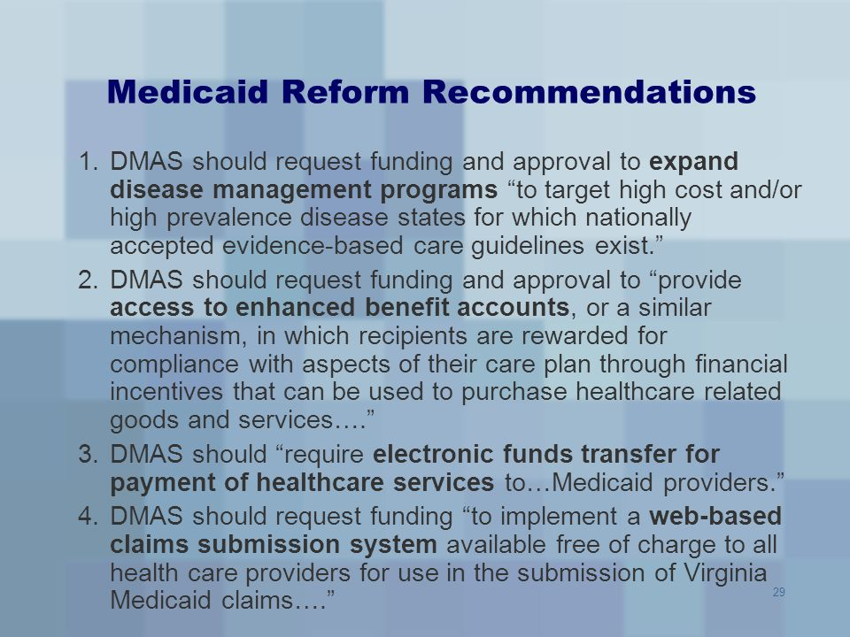 Medicaid Reform Recommendations