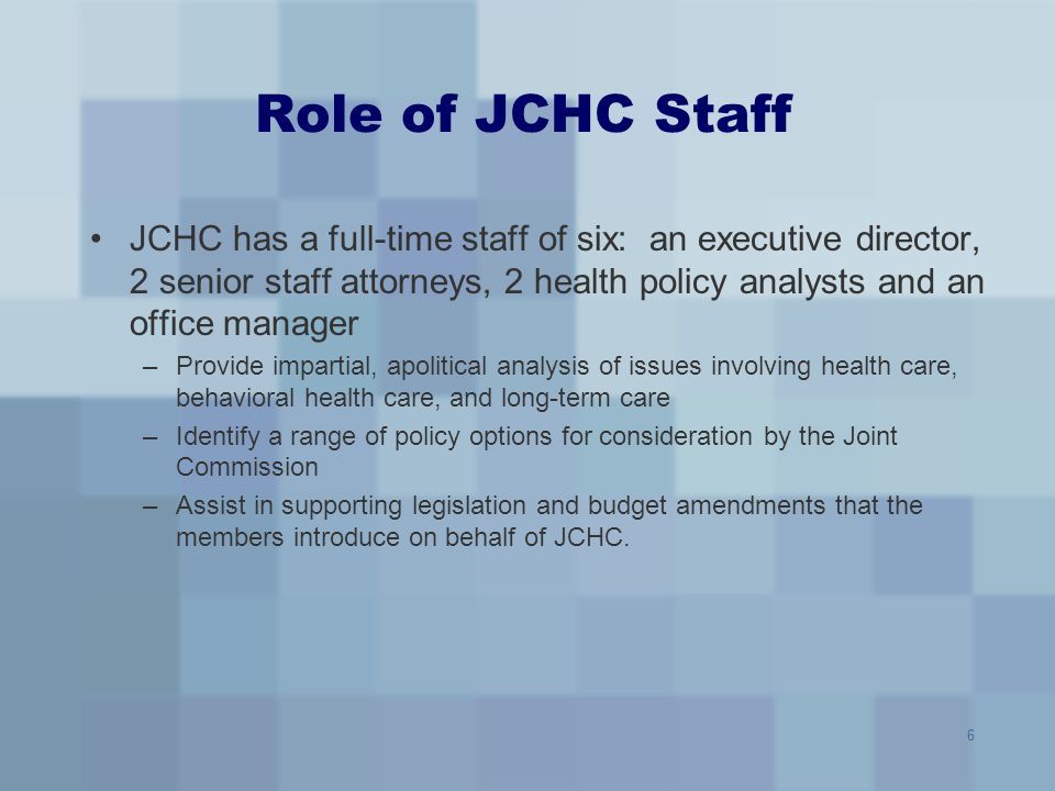 Role of JCHC Staff