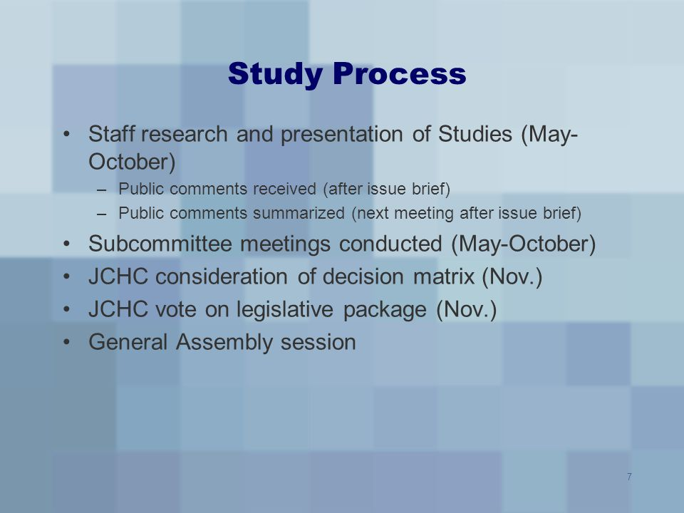 Study Process Staff research and presentation of Studies (May-October)