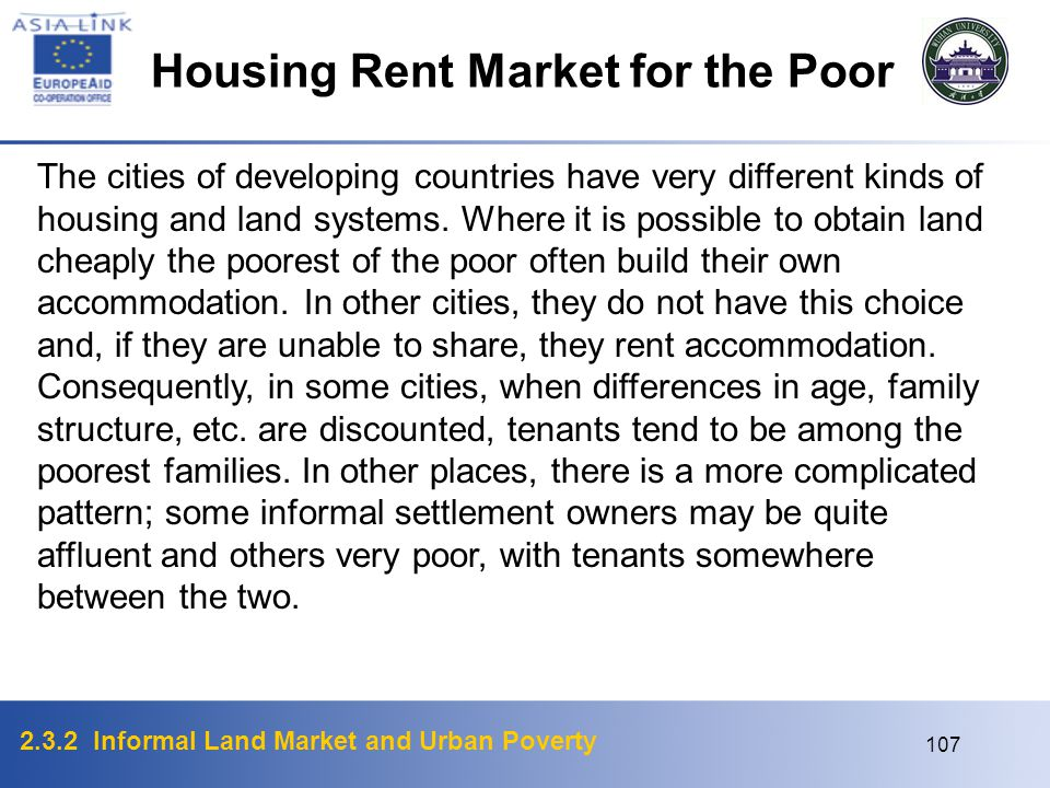Housing Rent Market for the Poor