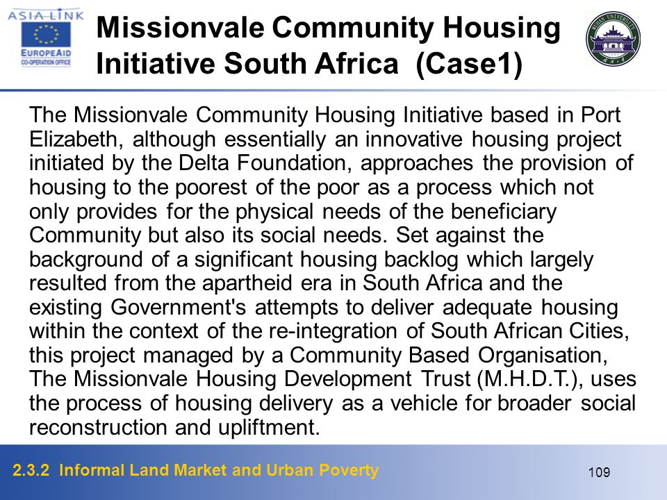 Missionvale Community Housing Initiative South Africa (Case1)