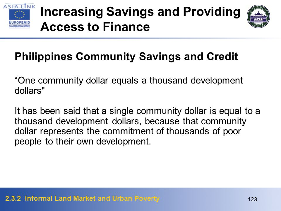 Increasing Savings and Providing Access to Finance