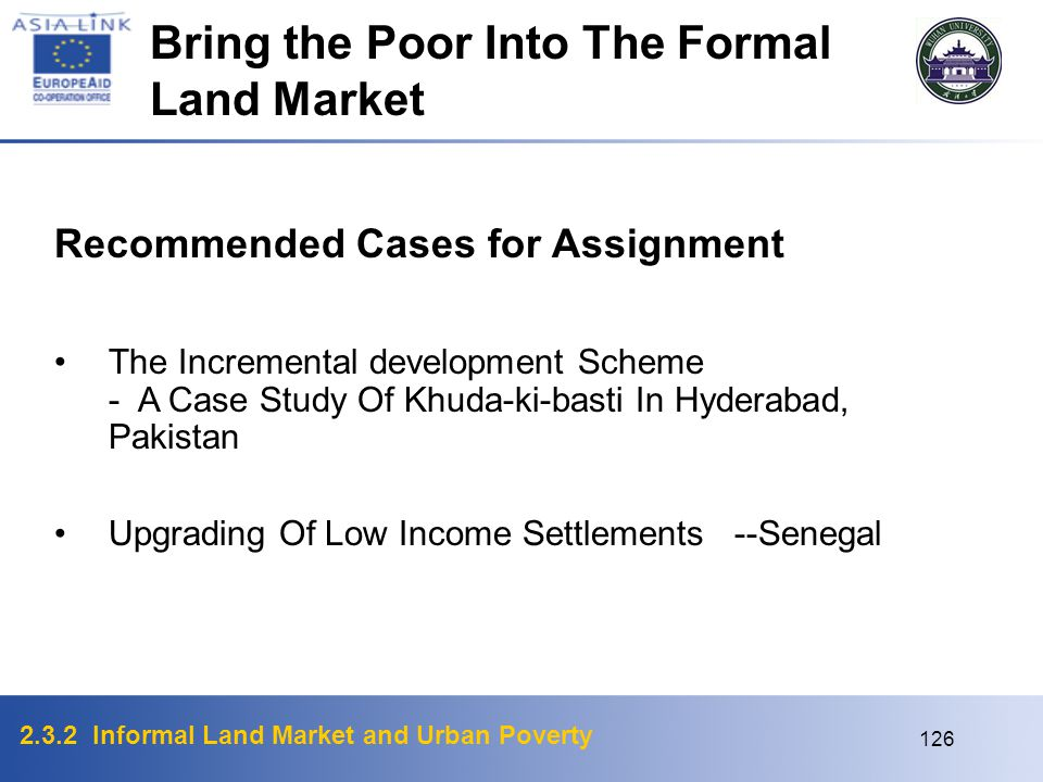 Bring the Poor Into The Formal Land Market
