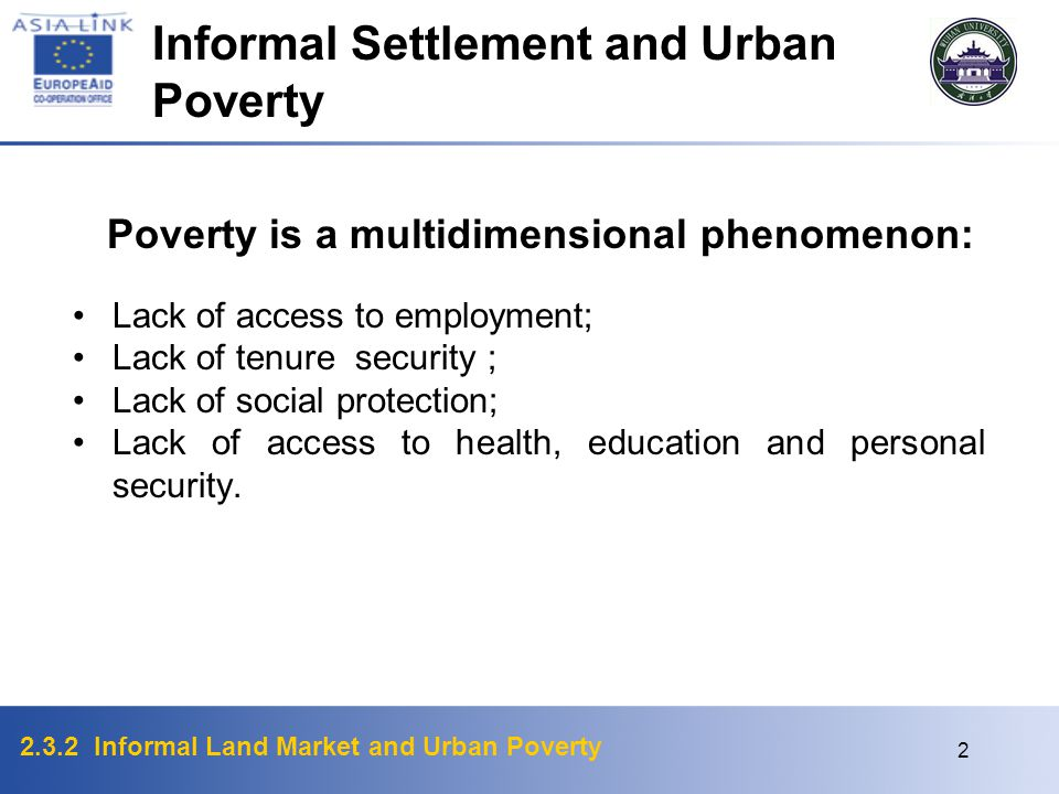 Informal Settlement and Urban Poverty