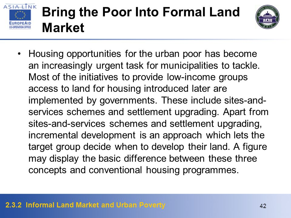 Bring the Poor Into Formal Land Market
