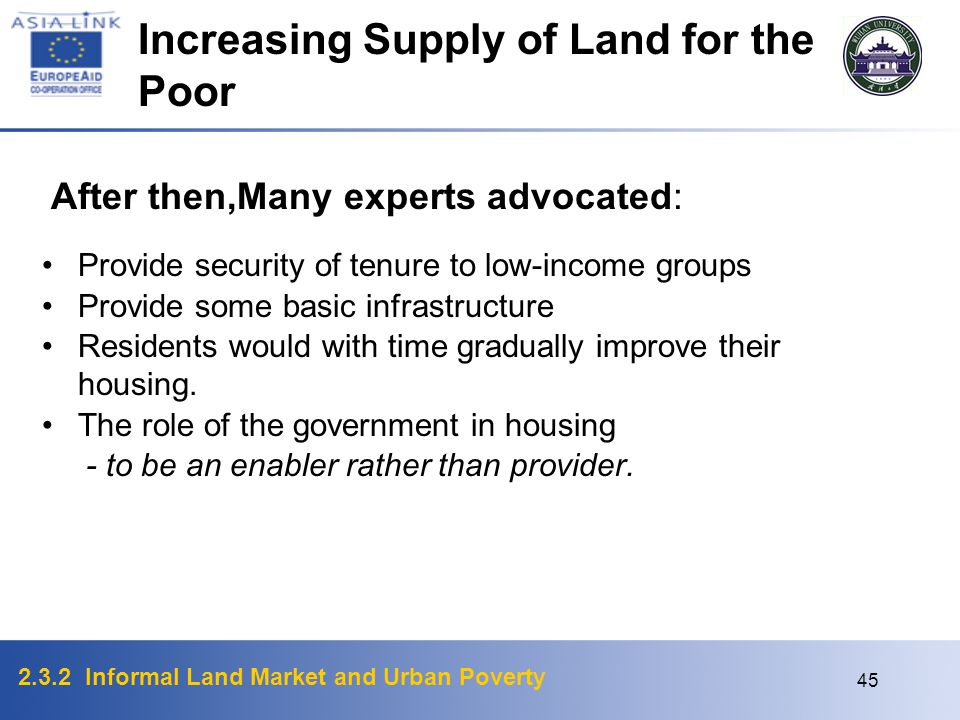 Increasing Supply of Land for the Poor