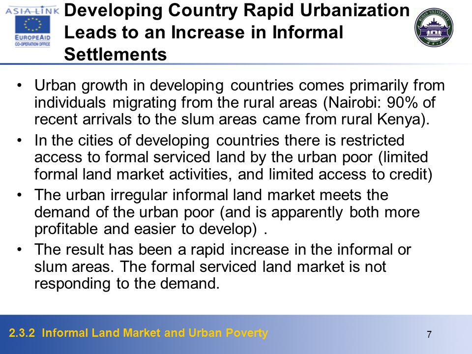 Developing Country Rapid Urbanization Leads to an Increase in Informal Settlements