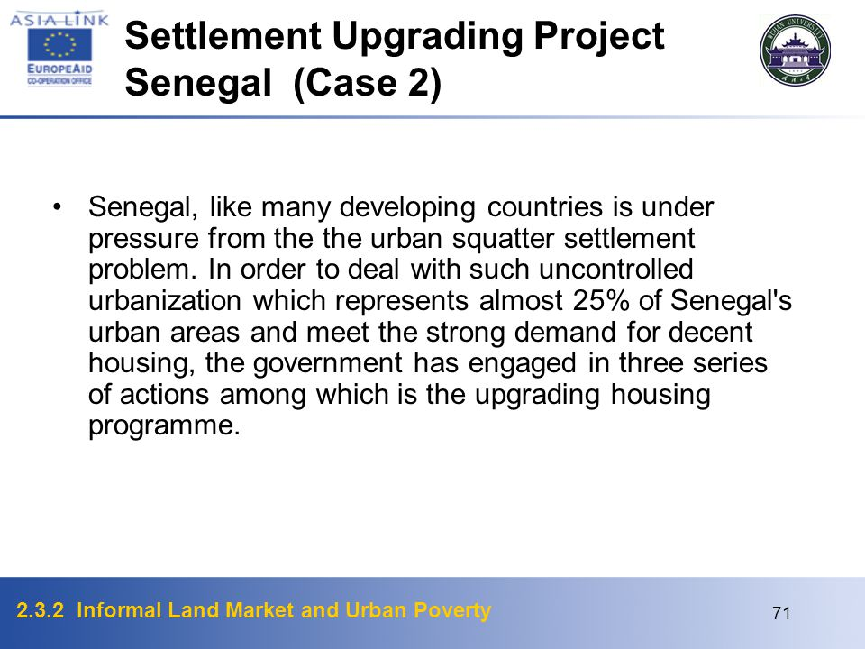 Settlement Upgrading Project Senegal (Case 2)