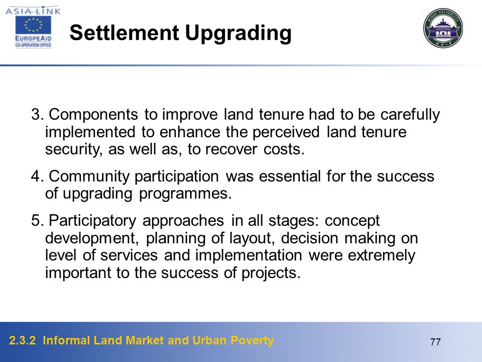 Settlement Upgrading