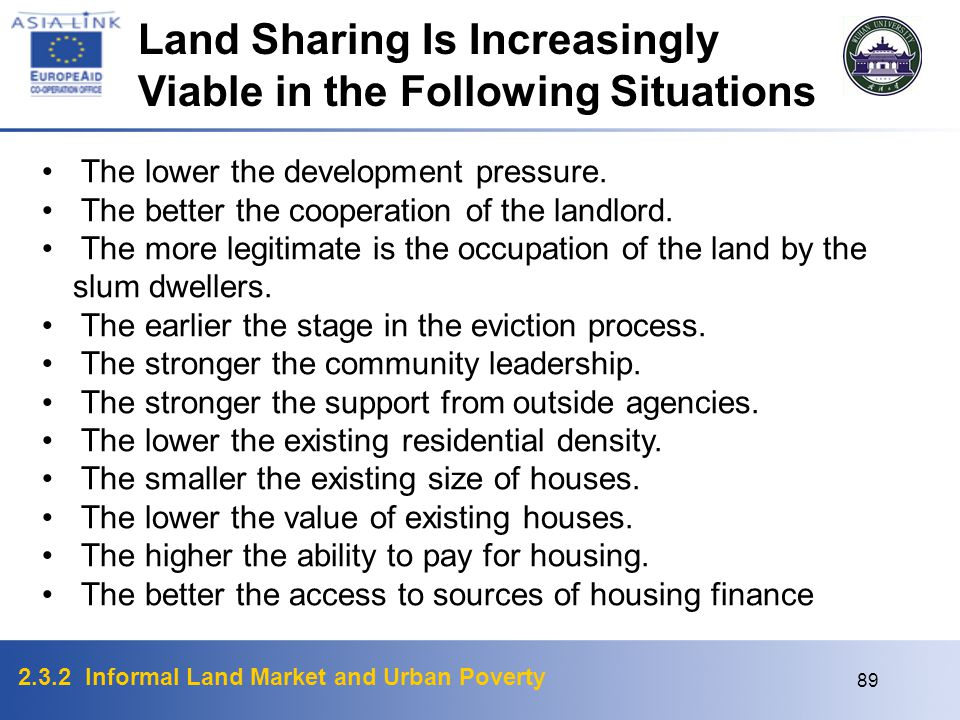 Land Sharing Is Increasingly Viable in the Following Situations