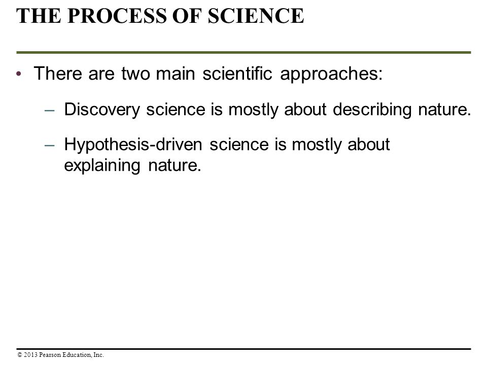 THE PROCESS OF SCIENCE There are two main scientific approaches: