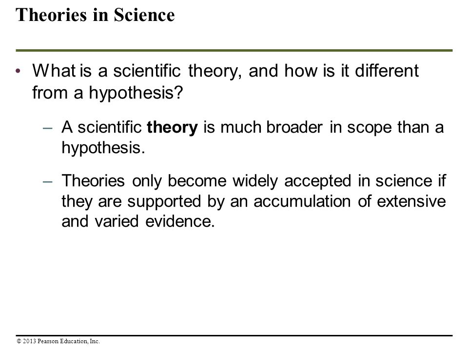 Theories in Science What is a scientific theory, and how is it different from a hypothesis