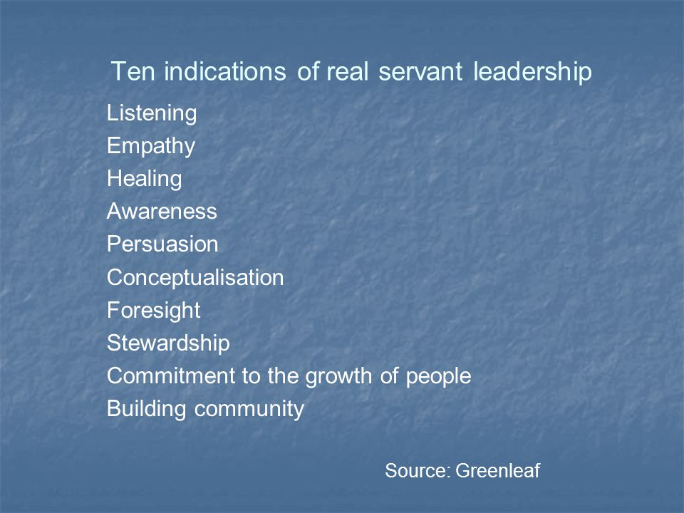 Servant leadership in ...