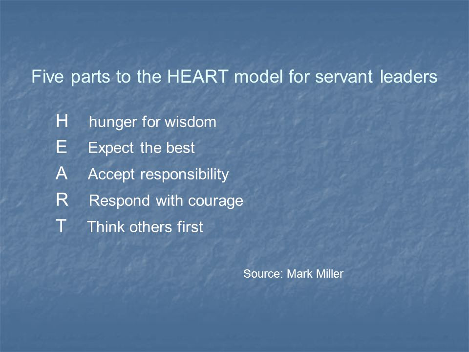 Five parts to the HEART model for servant leaders