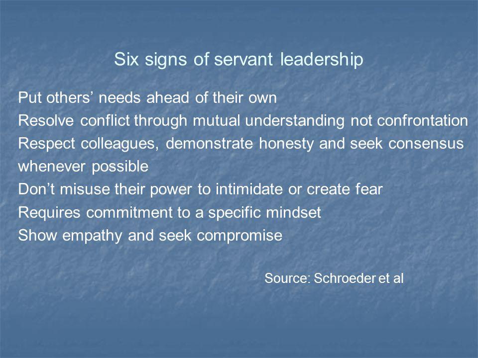 Six signs of servant leadership