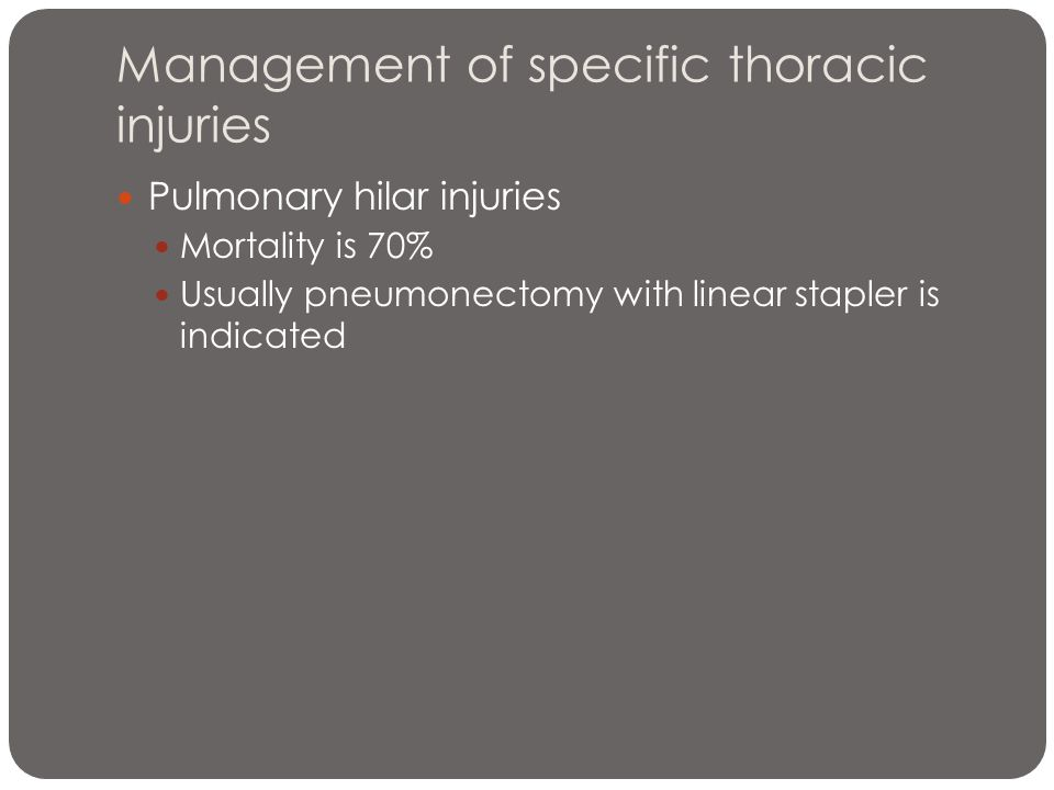 Management of specific thoracic injuries