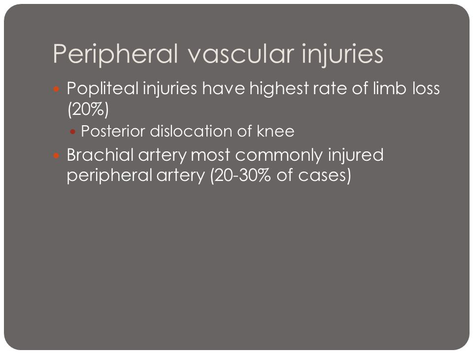 Peripheral vascular injuries