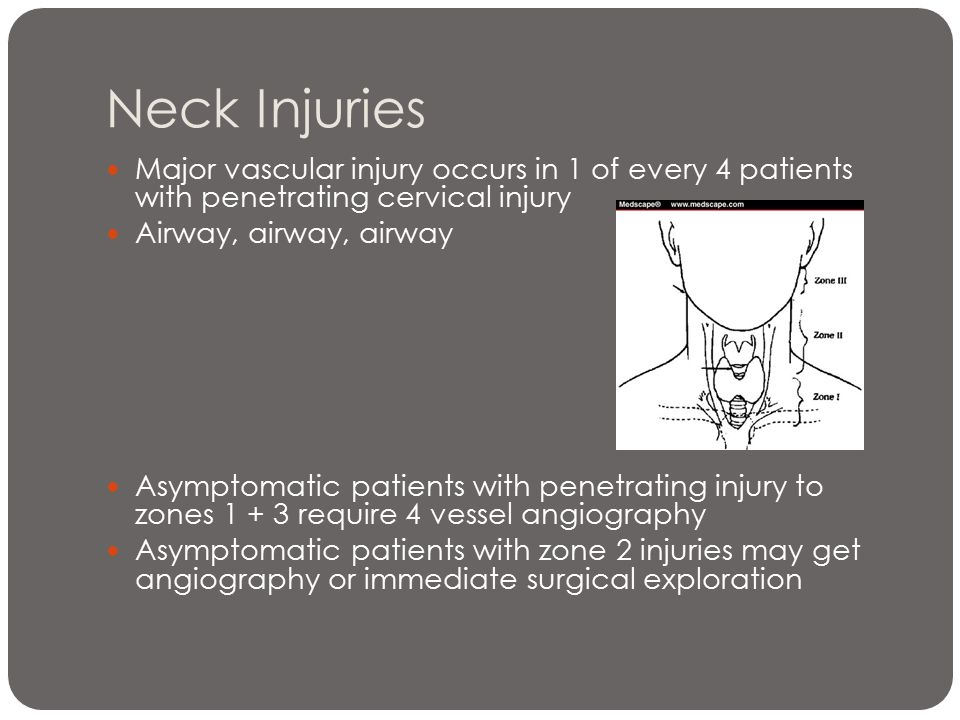 Neck Injuries Major vascular injury occurs in 1 of every 4 patients with penetrating cervical injury.