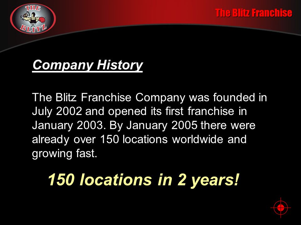150 locations in 2 years! Company History The Blitz Franchise
