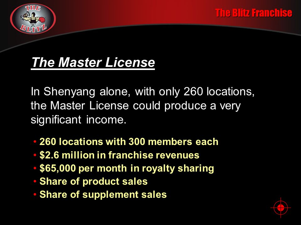 The Blitz Franchise The Master License In Shenyang alone, with only 260 locations, the Master License could produce a very significant income.