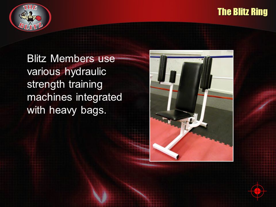 The Blitz Ring Blitz Members use various hydraulic strength training machines integrated with heavy bags.