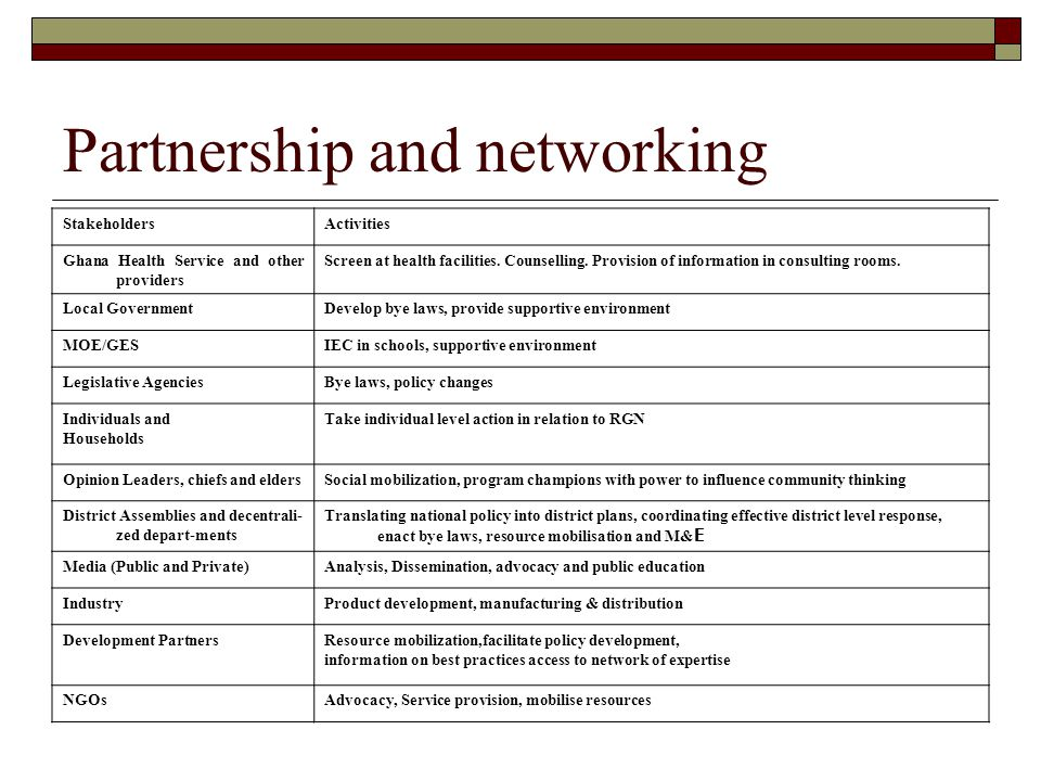 Partnership and networking
