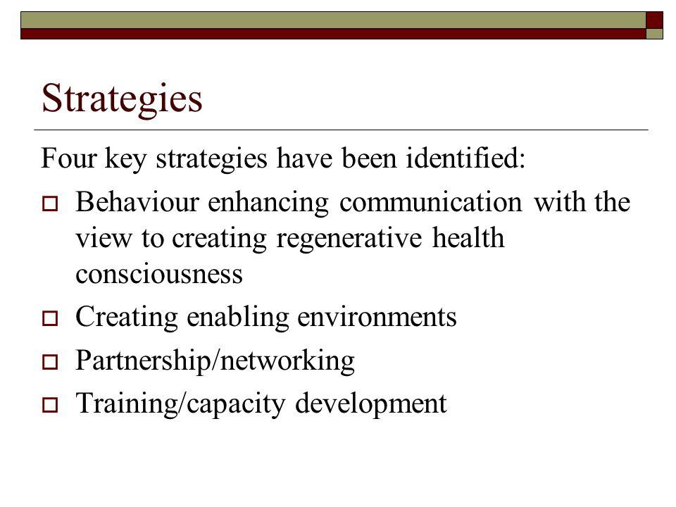 Strategies Four key strategies have been identified: