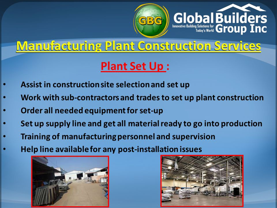 Manufacturing Plant Construction Services