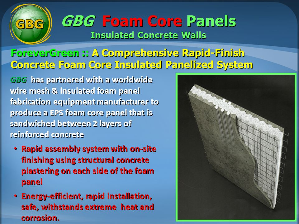 GBG Foam Core Panels Insulated Concrete Walls