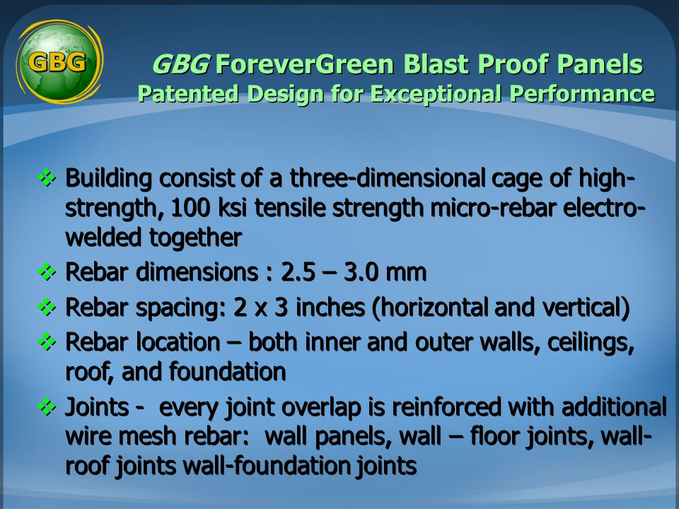 GBG ForeverGreen Blast Proof Panels Patented Design for Exceptional Performance