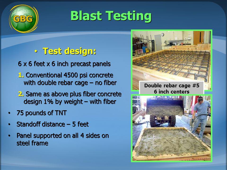 Blast Testing Test design: 6 x 6 feet x 6 inch precast panels