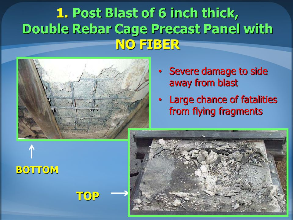 1. Post Blast of 6 inch thick, Double Rebar Cage Precast Panel with NO FIBER