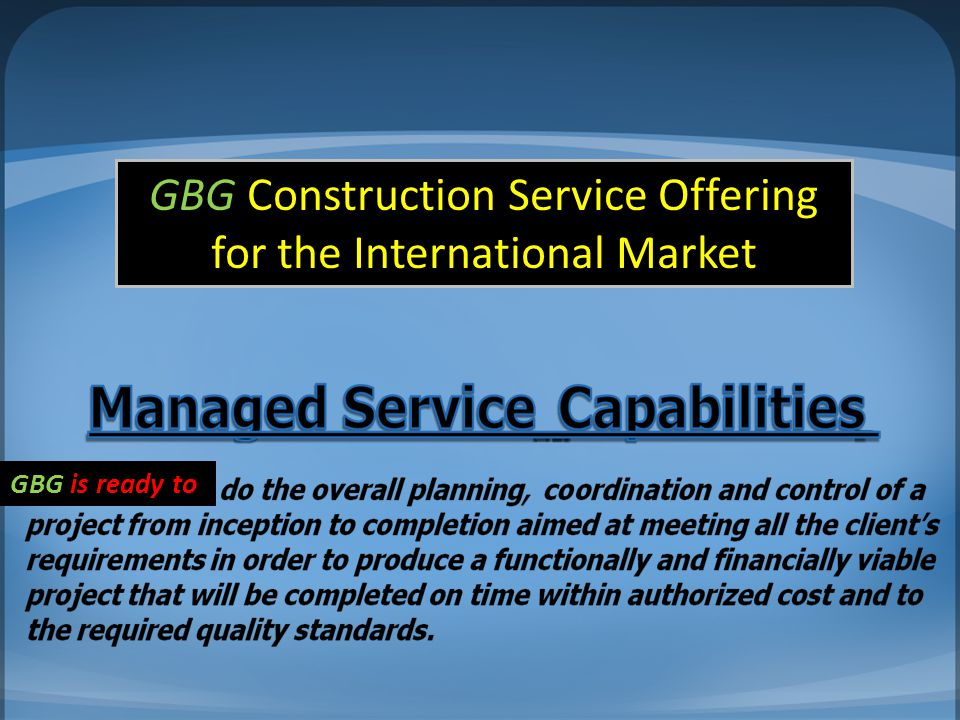 GBG Construction Service Offering for the International Market