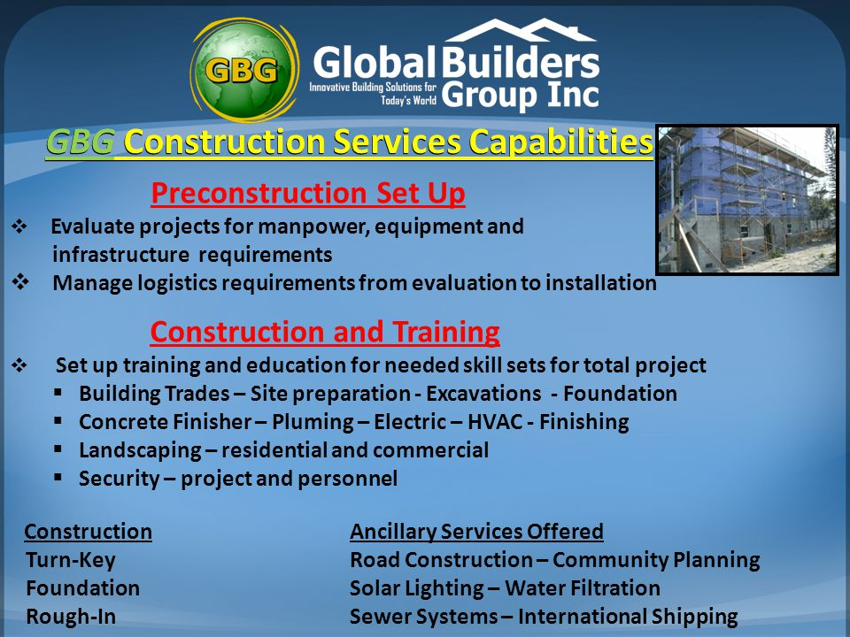 GBG Construction Services Capabilities