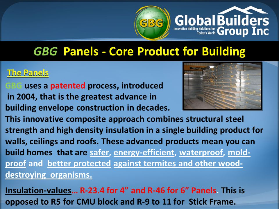 GBG Panels - Core Product for Building