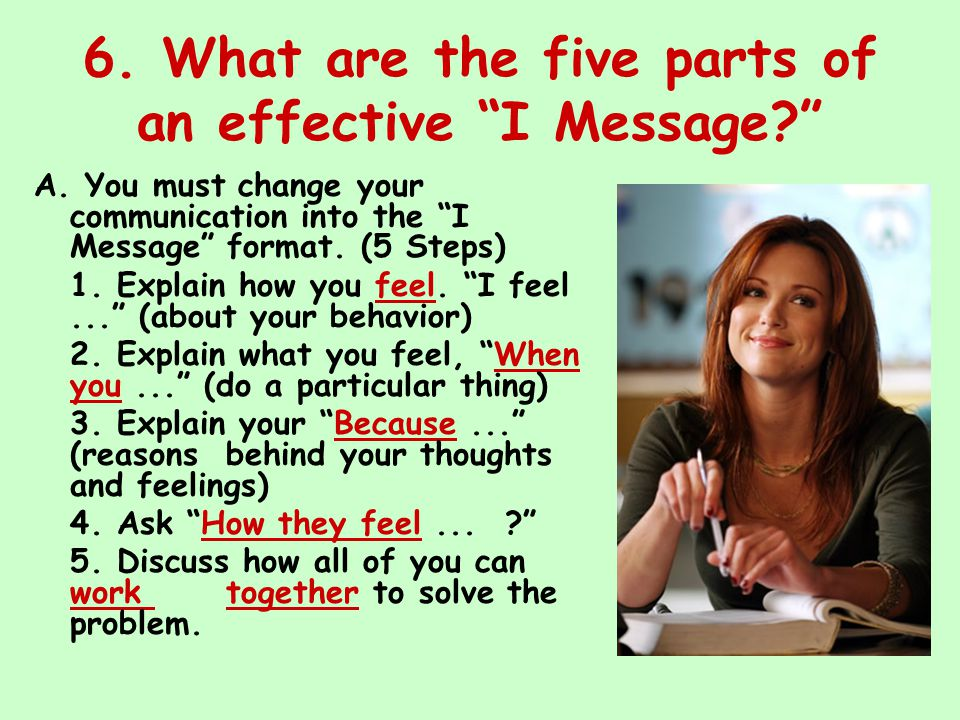 6. What are the five parts of an effective I Message