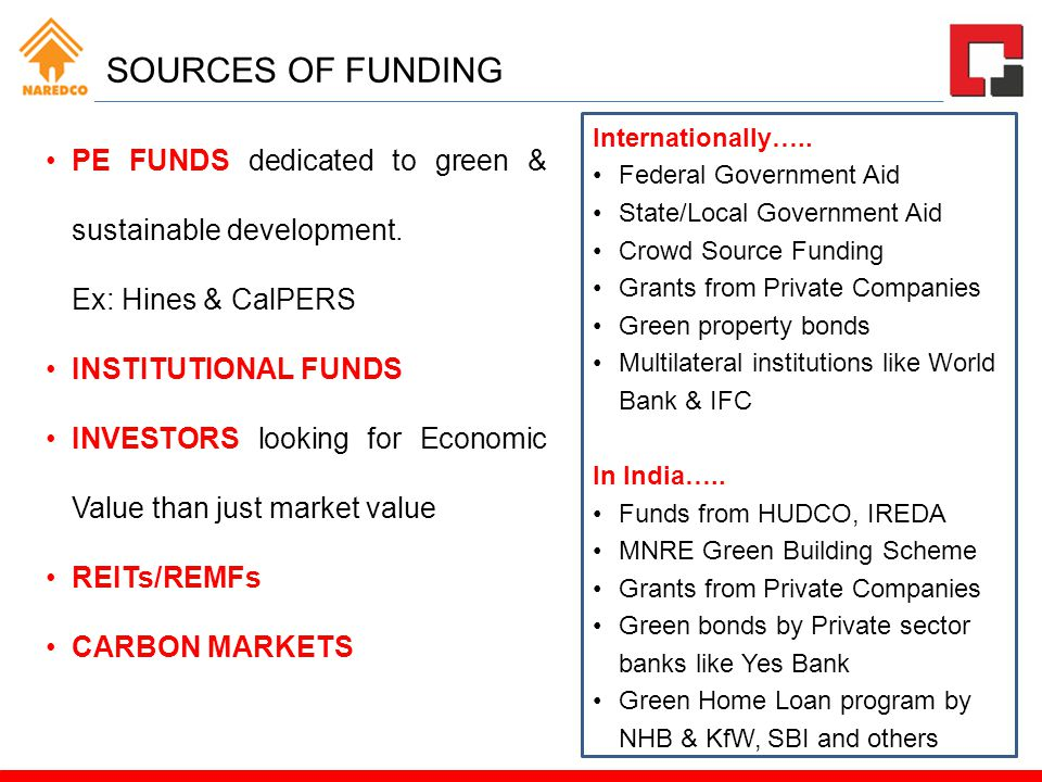 SOURCES OF FUNDING PE FUNDS dedicated to green & sustainable development. Ex: Hines & CalPERS. INSTITUTIONAL FUNDS.