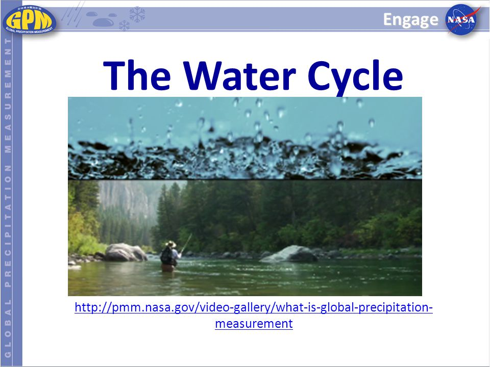 Engage The Water Cycle. http://pmm.nasa.gov/video-gallery/what-is-global-precipitation-measurement.