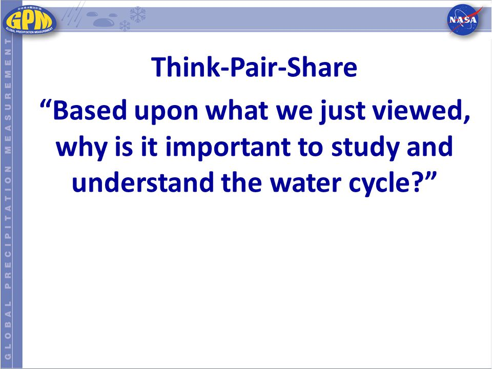 Think-Pair-Share Based upon what we just viewed, why is it important to study and understand the water cycle