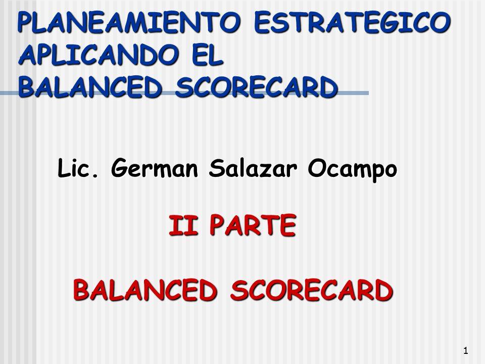 PLANEAMIENTO ESTRATEGICO APLICANDO EL BALANCED SCORECARD