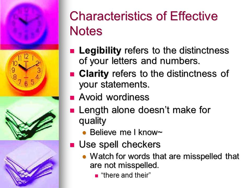 Characteristics of Effective Notes