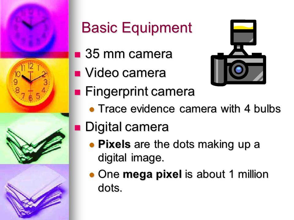 Basic Equipment 35 mm camera Video camera Fingerprint camera