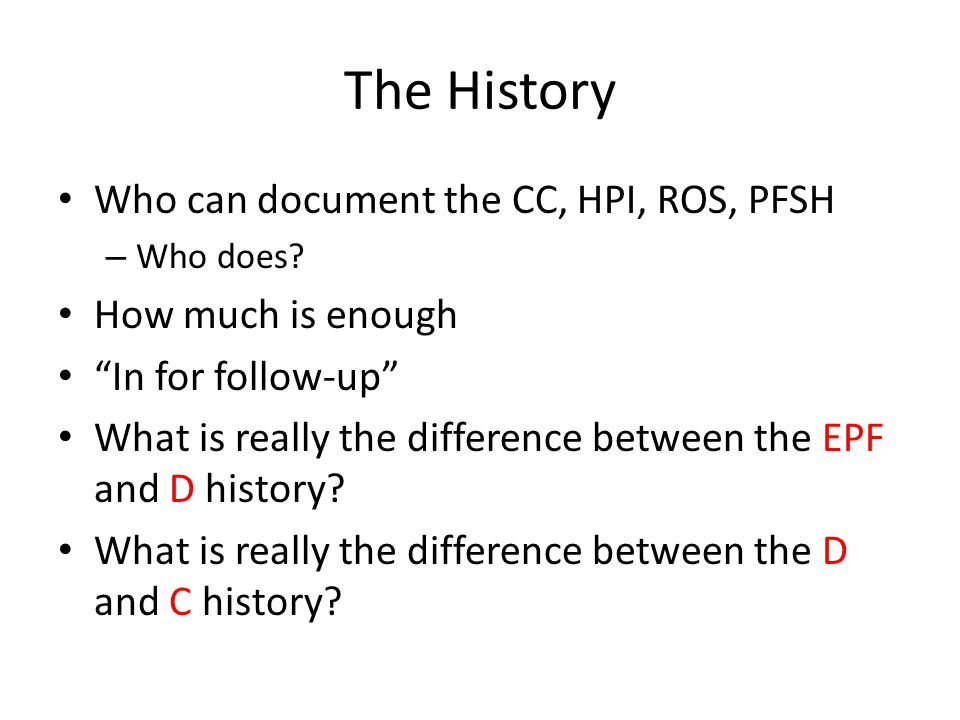 The History Who can document the CC, HPI, ROS, PFSH How much is enough