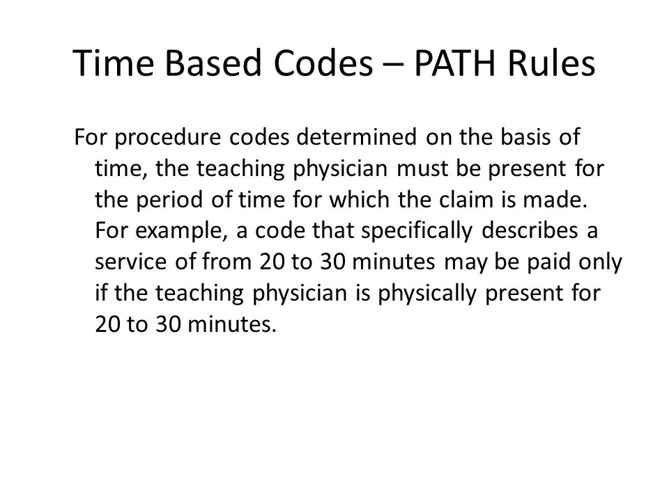Time Based Codes – PATH Rules