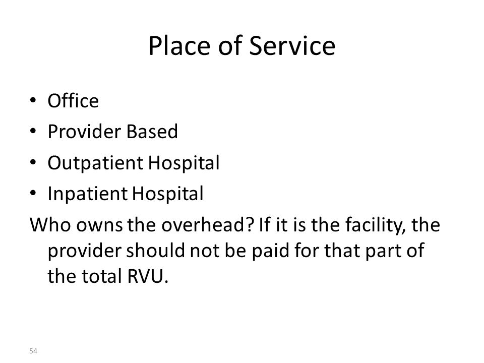 Place of Service Office Provider Based Outpatient Hospital